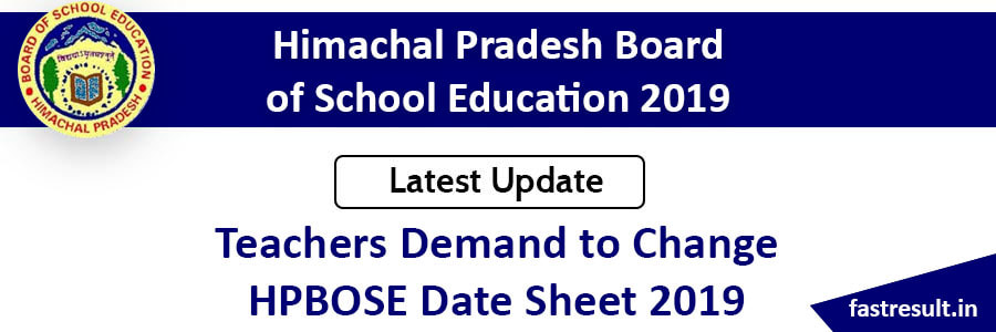 HPBOSE DATE SHEET 2019 - Fast Result